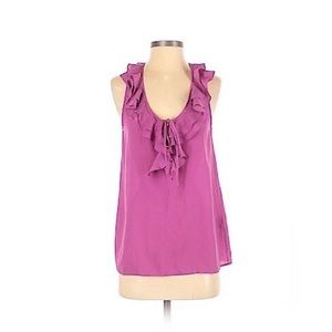 Joie Sleeveless Frilly Magenta Blouse
